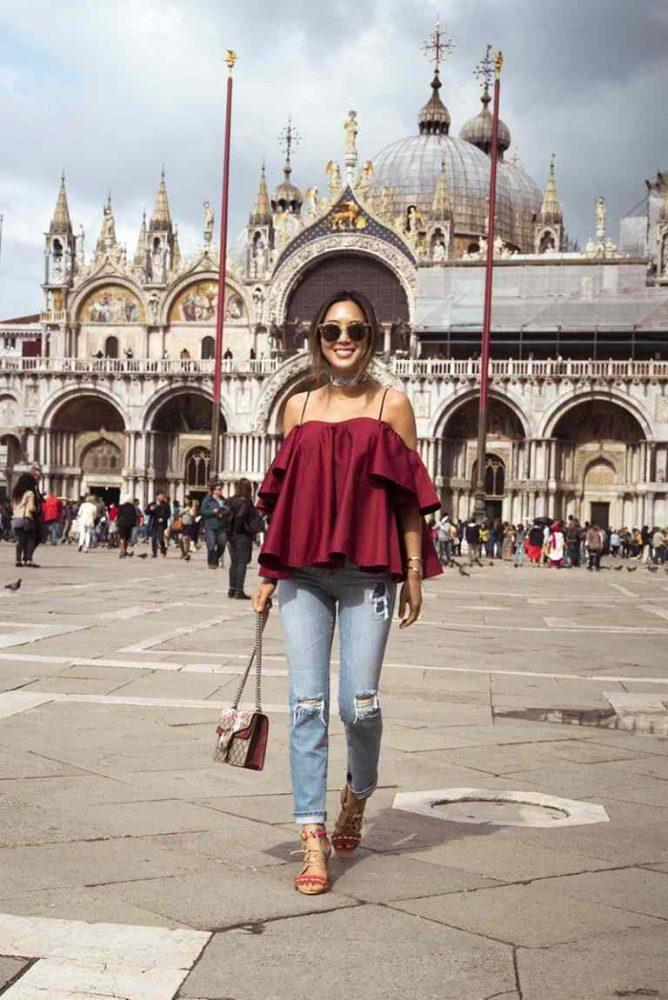 aimee_song_anna_october_off_the_shoulder_ruffle_top_ag_jeans_schutz_sandals_gucci_bag-768x1150