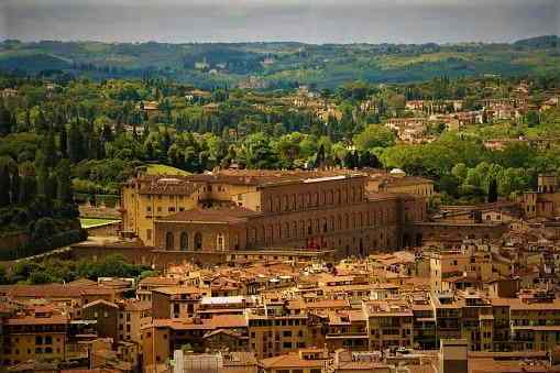 View to Pitti Palace and Boboli garden in Florence Italy