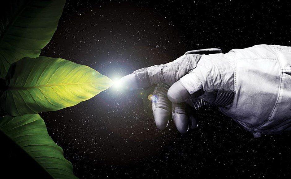 Αστοναυτης και φυτο στο διαστημα