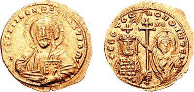 Νόμισμα που απεικονίζει τη στέψη του Τσιμισκή, αφού ο Νικηφόρος Φωκάς έπεσε νεκρός
