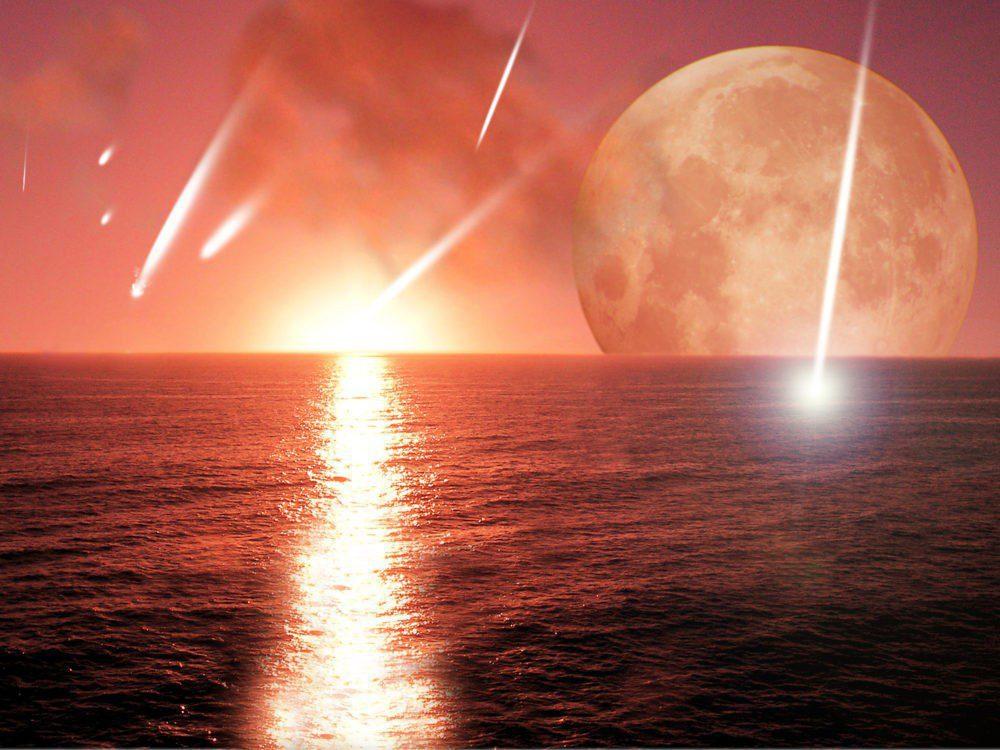 Μεωρίτες, σελήνη, θάλασσα, ήλιος