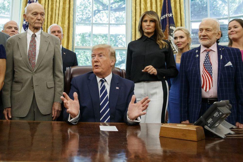 Buzz Aldrin, Michael Collins, Trump, Melania, Oval Office
