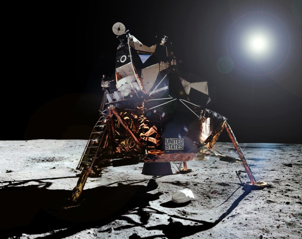 Buzz Aldrin on the moon and the Eagle