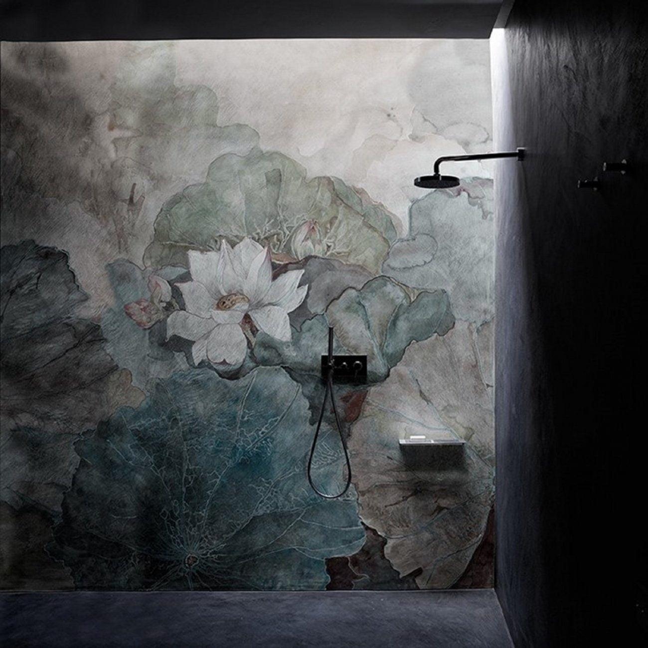 Floral αδιαβροχη ταπετσαρια ντουζιερας