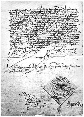 Το διάταγμα της Αλάμπρα (υπογεγραμμένο αντίγραφο), πηγή εικόνας: wikiwand.com