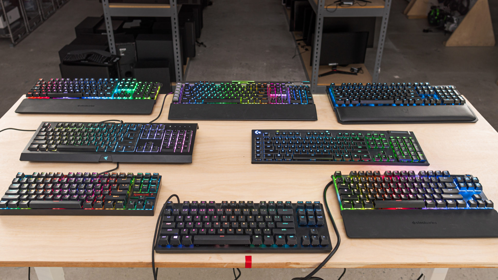 gaming keyboards on a table