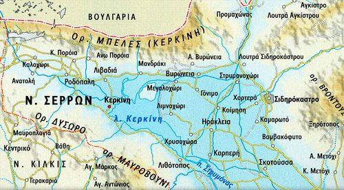 Χάρτης του Νομού Σερρών Άνω Πορόια
