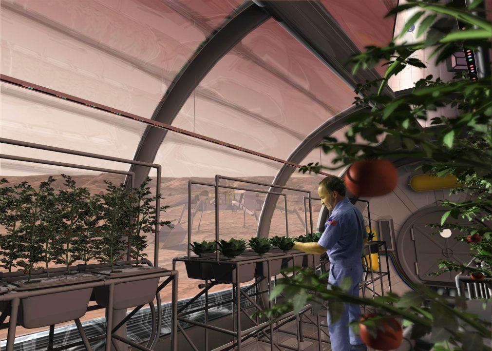 Φυτά στον Άρη σε θεερμοκήπιο και κάποιος που τα φροντίζει