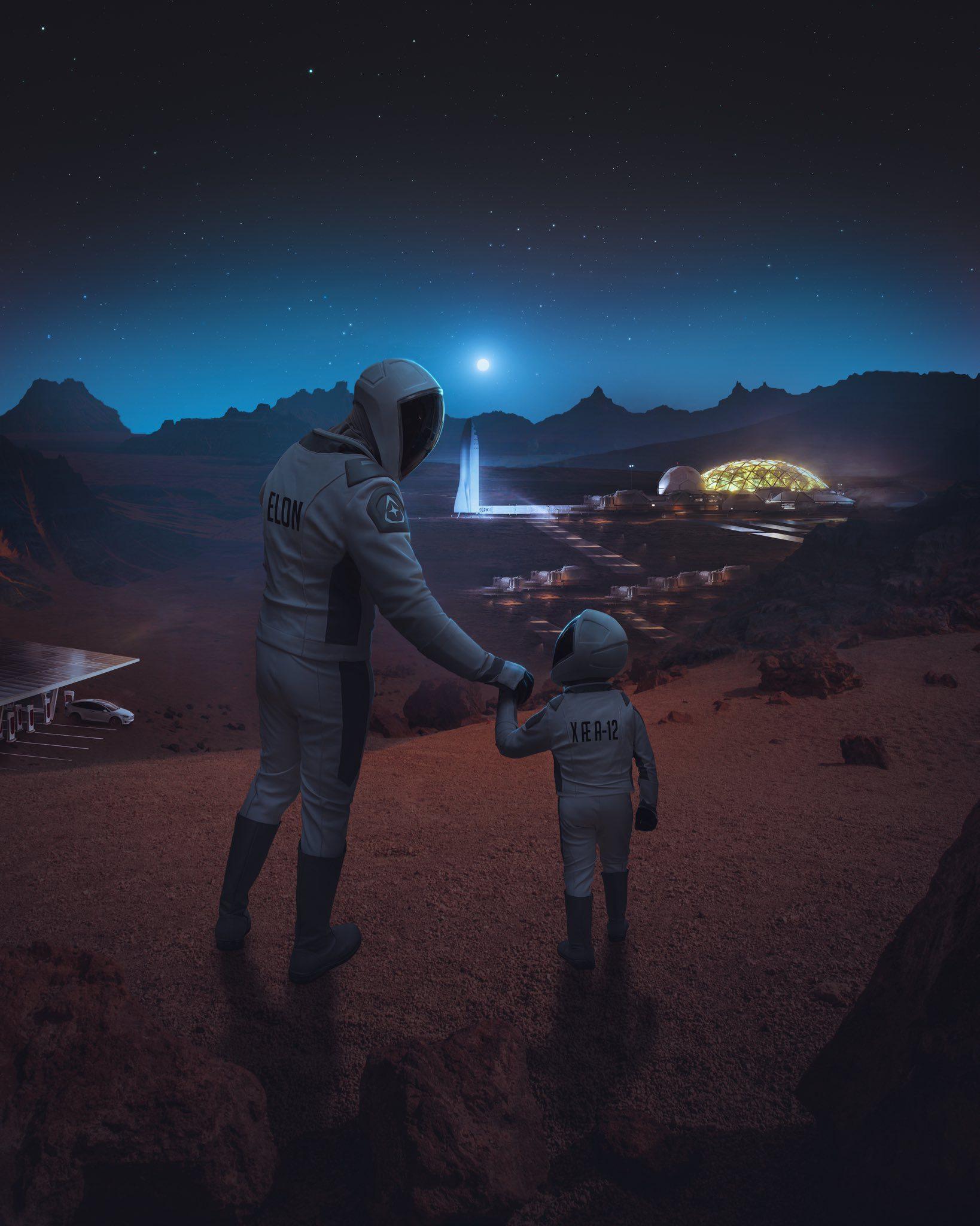 ο Elon Musk με τον γιο του στον Άρη