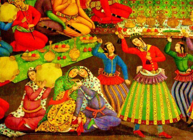 τοιχογραφία που αναπαριστά χοροεσπερίδα στην κεντρική σάλα του ανακτόρου Τσεχέλ Σοτούν, στο Ισφαχάν. | Πηγή εικόνας: lifo.gr