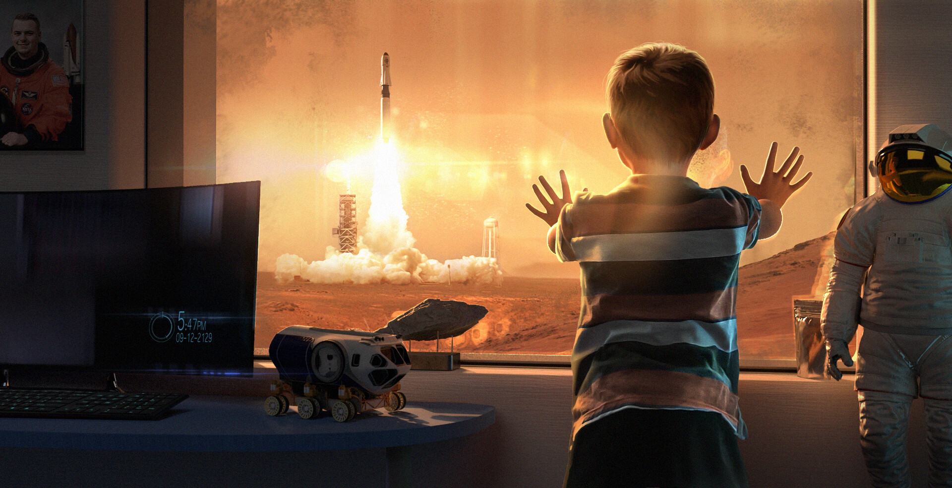 Ένα αγόρι βλέπει έναν πύραυλο Starship της Space X να επογειώνεται από τον Άρη