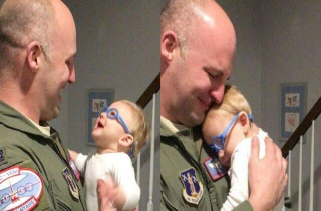 Μωρό βλέπει τον μπαμπά του για πρώτη φορά