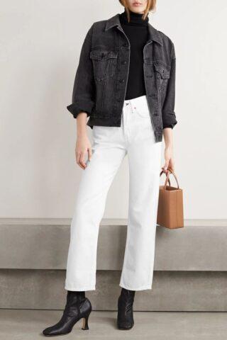 λευκό παντελόνι με Jean jacket