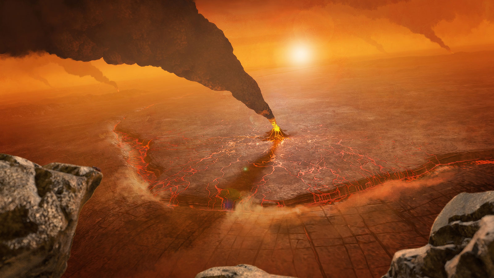 Καλλιτεχνική απεικόνιση ενεργού ηφαιστείου στην Αφροδίτη