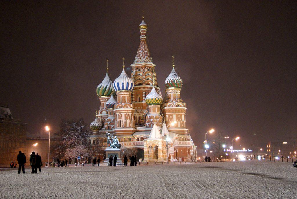 Χιόνι στην Κόκκινη πλατεία της Μόσχας Ρωσία