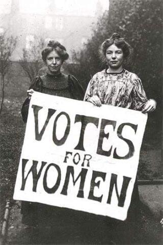 Δύο γυναίκες που υποστηρίζουν το δικαίωμα ψήφου για τις γυναίκες. Φεμινισμός πρώτου κύματος