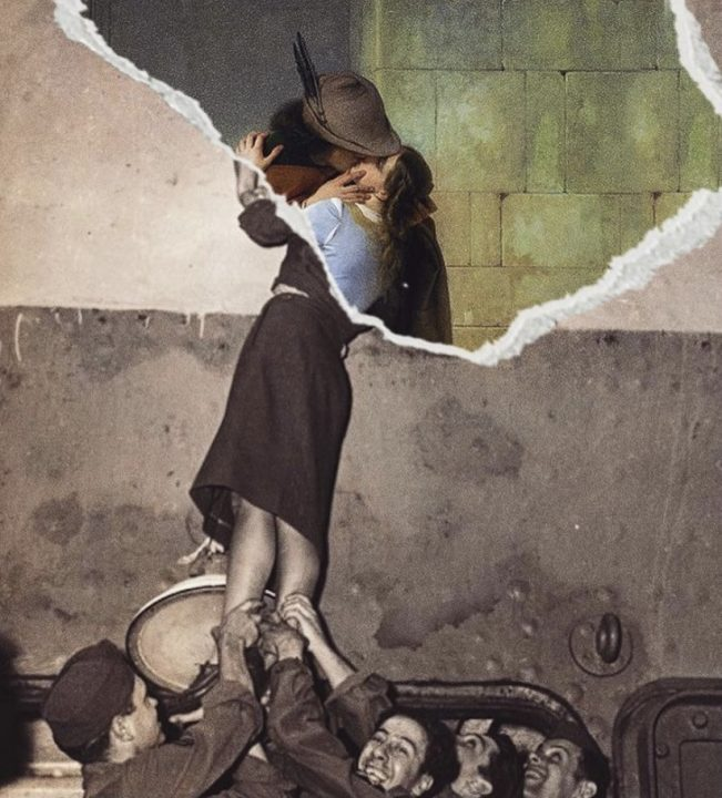 φωτογραφία και πίνακας με φιλί