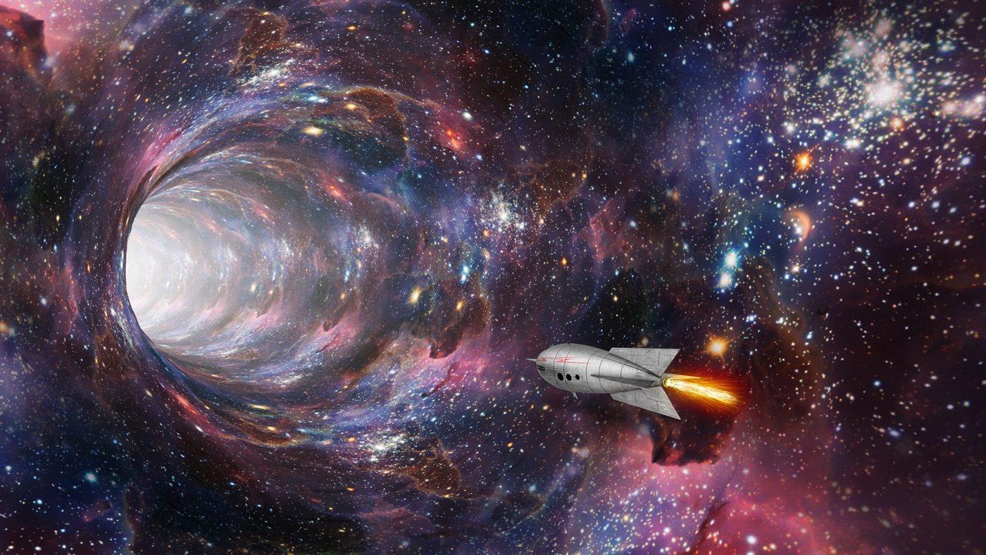 Διαστημόπλοιο που περνάει μέσα από σκουληκότρυπα