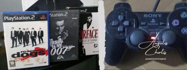 Βιντεοπαιχνίδια PS2 και Sony χειριστήριο DualShock 2.