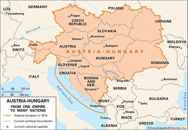 Πηγή εικόνας: britannica.com | Χάρτης της Αυστροουγγαρίας