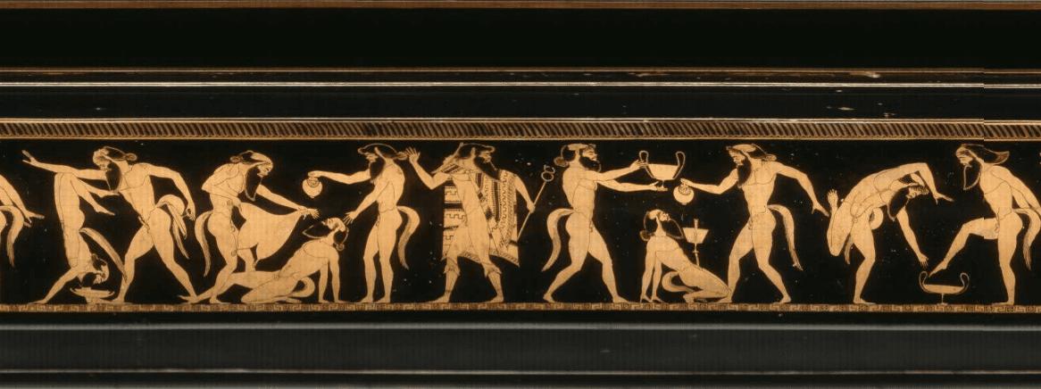 αναπαράσταση σατύρων σε κεραμικό αγγείο πηγή: www.britishmuseum.org